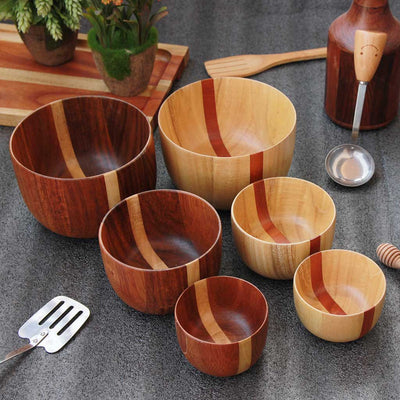 set of 6 wooden mixing and serving bowls - set A - woodgeek store