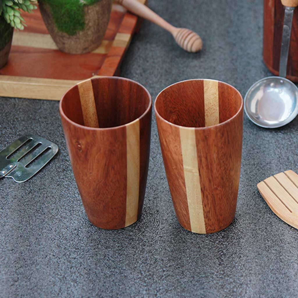 wooden drinking water glasses set of 2 pattern ply variant