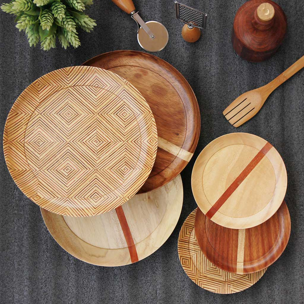 dinnerware set of 3 wooden dinner plates and 3 side plates by woodgeek store