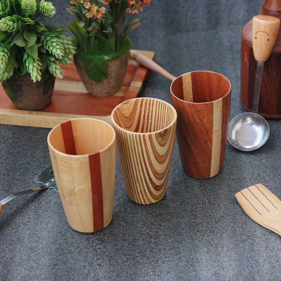 Handmade wooden drinking glasses set of 3 woodgeekstore