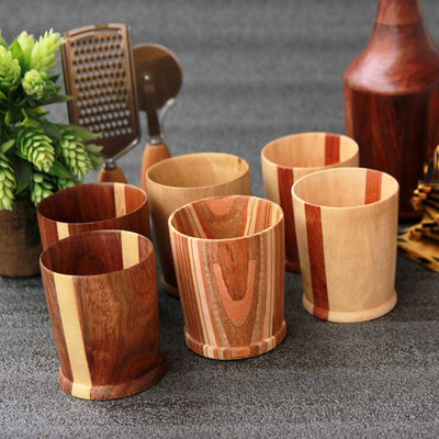 Set of 6 wooden rock glasses made by woodgeek store