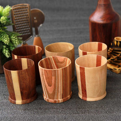 Set of 6 wooden old fashioned glasses made by woodgeekstore