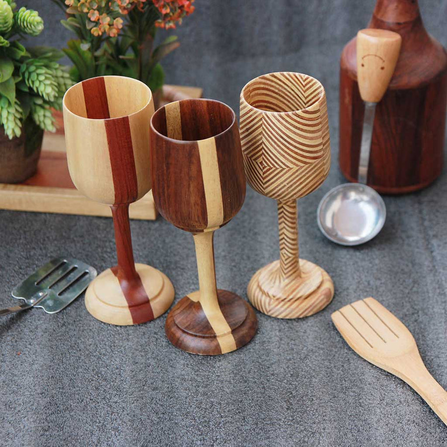 set of 3 wooden wine goblets from woodgeekstore