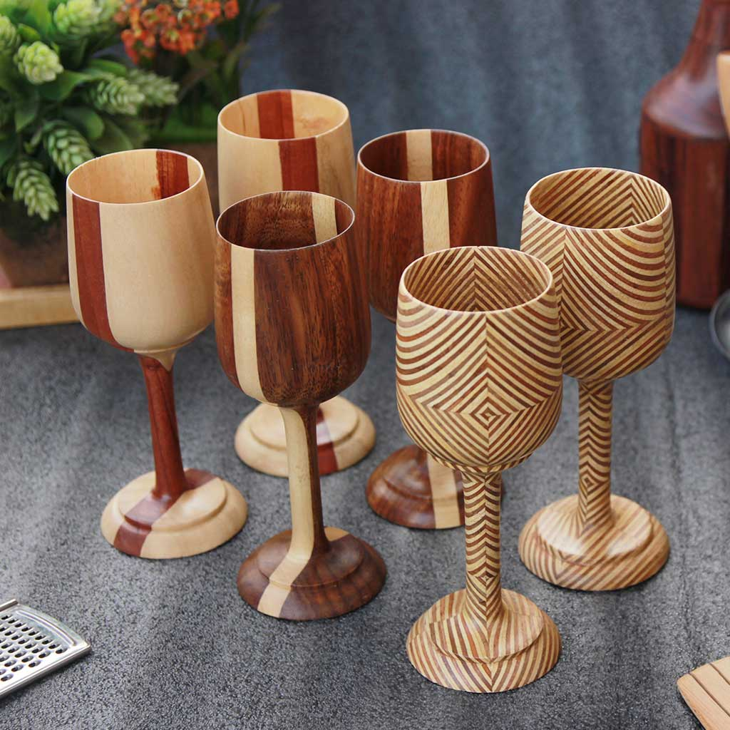 wooden wine goblets set of 6 by woodgeek store