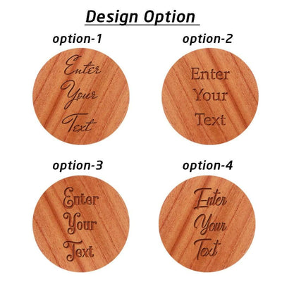Customize Your Own Round Wooden Coaster Set - Custom Coasters With Holder