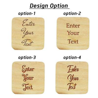 Customize Your Own Square Wooden Coaster Set - Custom Coasters With Holder