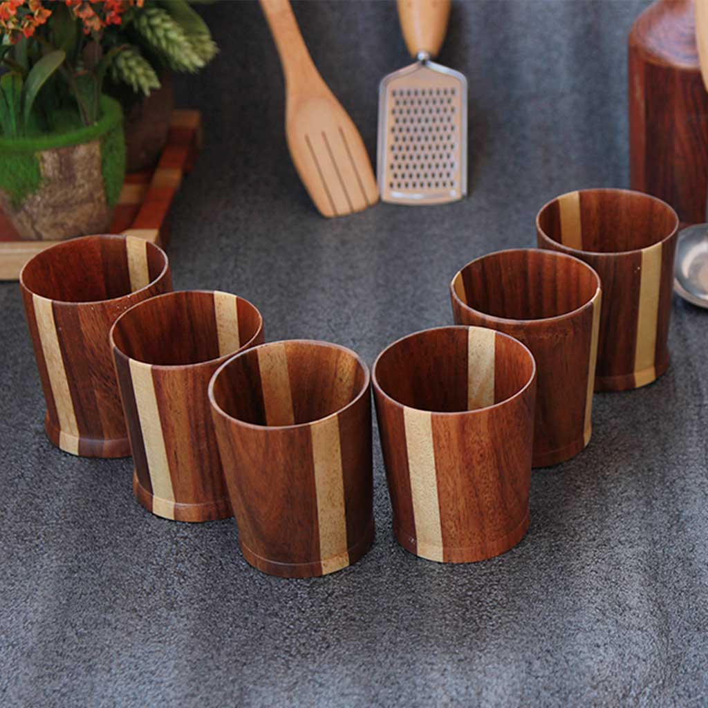set of 6 wooden whiskey glasses in black sirish variant by woodgeek store