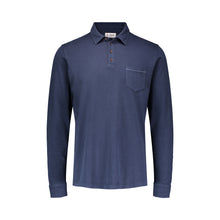 Load image into Gallery viewer, navy long sleeve polo with pocket