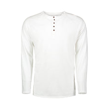 Load image into Gallery viewer, white quarter button cotton henley