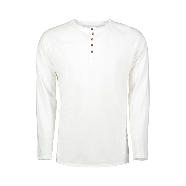 white quarter button cotton henley