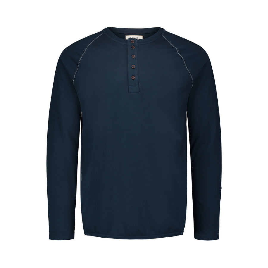 navy henley with bite stitching