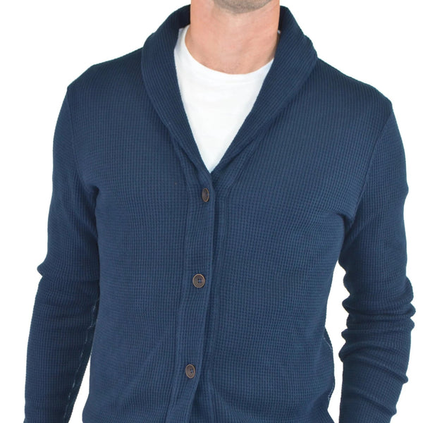 navy waffle knit cardigan with buttons