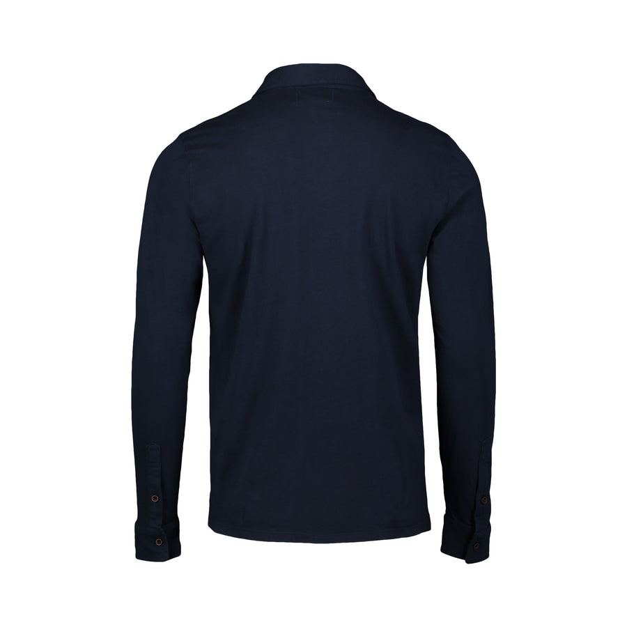 navy back of long sleeve polo