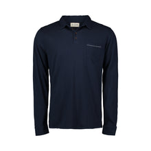 Load image into Gallery viewer, navy long sleeve polo with bite stitch pocket