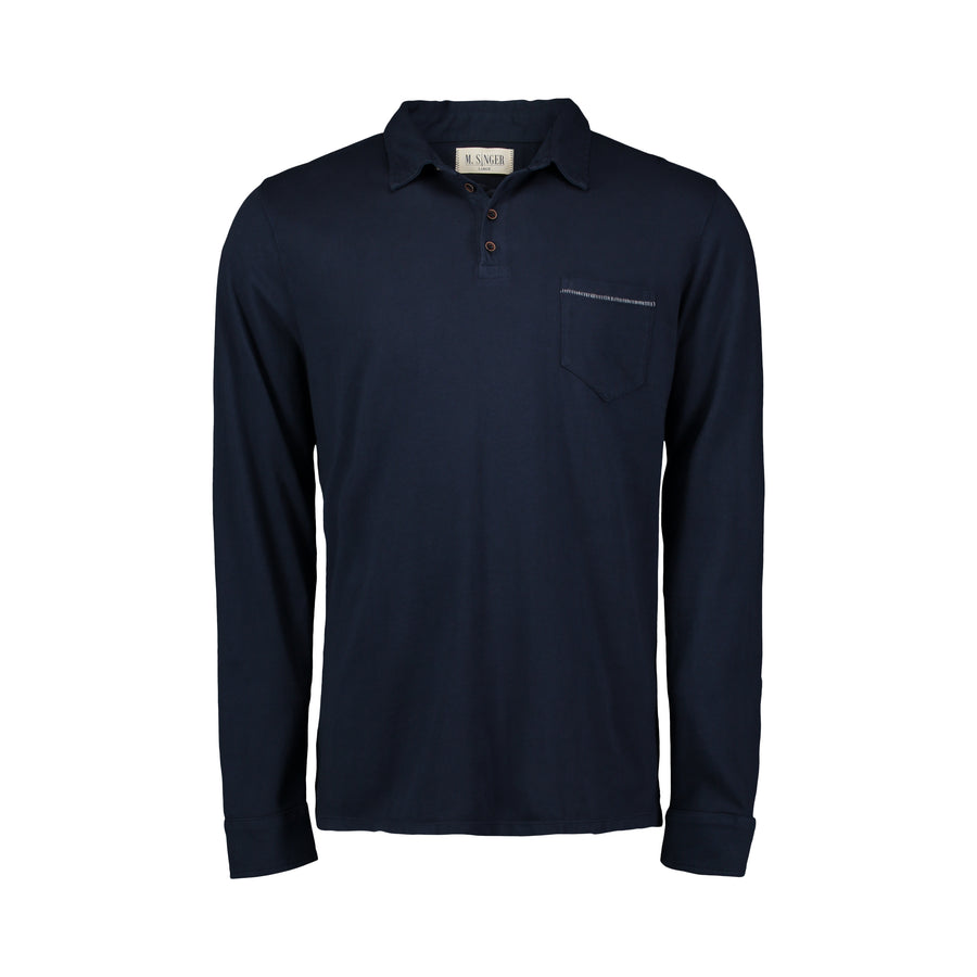 navy long sleeve polo with bite stitch pocket