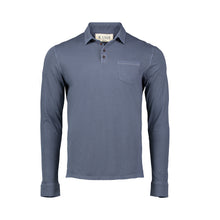 Load image into Gallery viewer, slate long sleeve polo button up