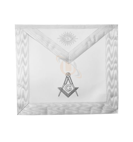 Masonic Blue Lodge White Machine Embroidery Apron with square compass with G - kitchcutlery  - 1