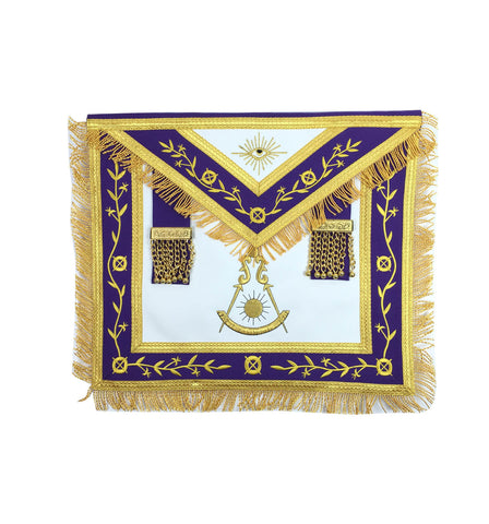 Masonic Blue Lodge Past Master Gold Machine Embroidery Freemason Purple Apron - kitchcutlery  - 1