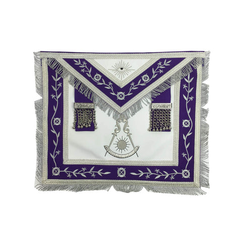 Masonic Blue Lodge Past Master Silver Machine Embroidery Freemason Purple Apron - kitchcutlery  - 1