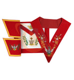 Masonic Rose Croix 18th Degree Handmade embroidery Apron, Gauntlets and Collar Set - kitchcutlery  - 1