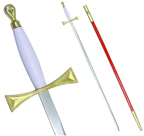"Masonic Sword with White Gold Hilt and Red Scabbard 35 3/4"" + Free Case"