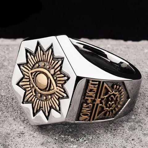 32 Degree SONS LIGHT Hexagon Eye of Providence Ring
