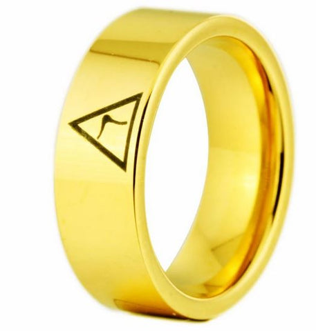 14th Degree MASONIC Gold Color Pipe Cut Tungsten Carbide Ring