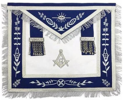 Masonic Blue Lodge G Master Mason Silver Machine Embroidery Freemasons Apron