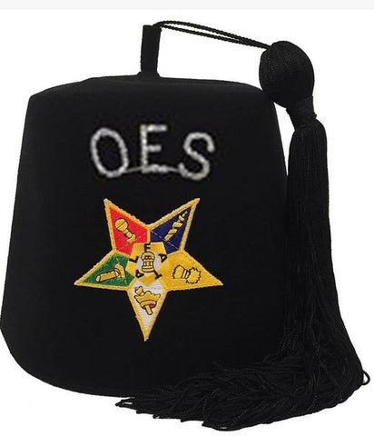 Order of the Eastern Star OES Rhinestone Black Fez