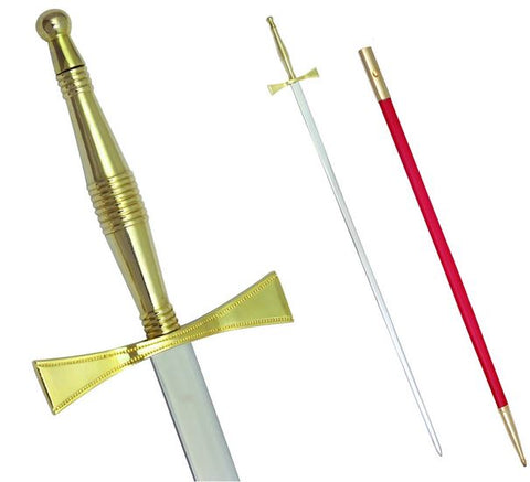 "Masonic Sword with Gold Hilt and Red Scabbard 35 3/4"" + Free Case"