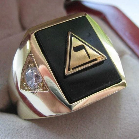 14th Degree Onyx Masonic Copper Ring