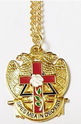 32 Degree Scottish Rite Rose Masonic Necklace
