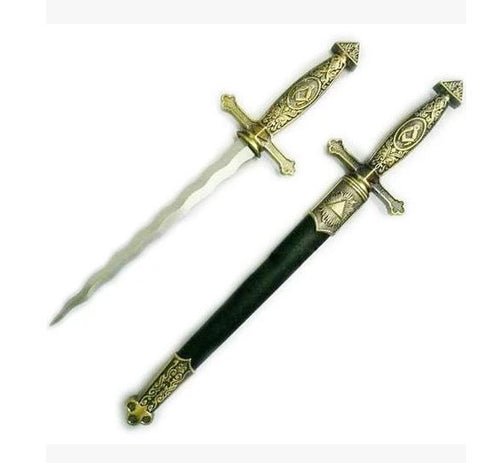 Square Compass Brass Masonic Sword Knife Snake Flaming Blade / Black Scabbard 15.5""