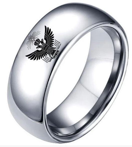 33 Degree Double Eagle Crown Masonic Band Ring