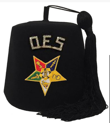 "Order of the Eastern Star OES Rhinestone 1"" Black Fez"