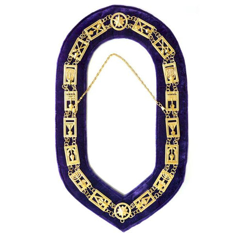 Cryptic Mason - Royal & Select Chain Collar - Gold/Silver On Purple + Free Case