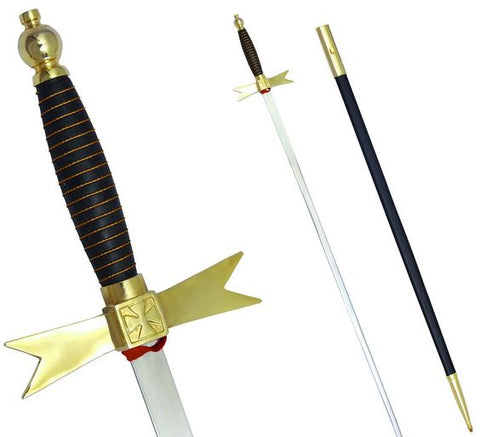 "Masonic Knights Templar Sword with Black Gold Hilt and Black Scabbard 35 3/4"" + Free Case"