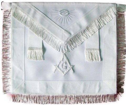 Masonic Master Mason Apron All White With Fringe