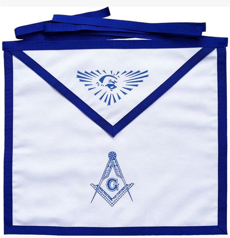Masonic Blue Lodge White Cotton Duck Cloth Master Mason Apron Printed