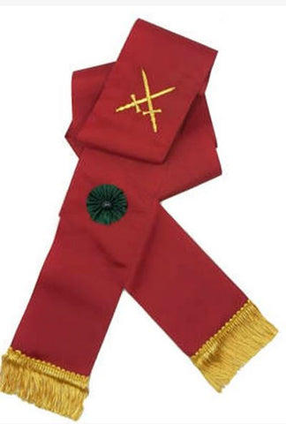 Knight Mason Hand Embroidered Sash Maroon