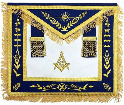 Masonic Blue Lodge G Master Mason Gold Machine Embroidery Apron
