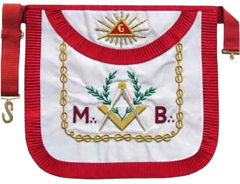 "Masonic Scottish Rite AASR ""M+B"" Round Hand Embroidered Apron"