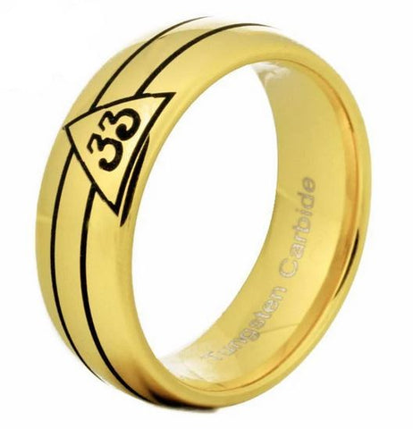 33rd Degree Gold Rounded Masonic Ring Free Engraving