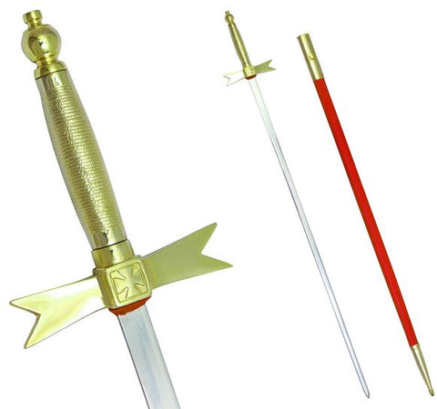 "Masonic Knights Templar Sword with Gold Hilt and Red Scabbard 35 3/4"" + Free Case"