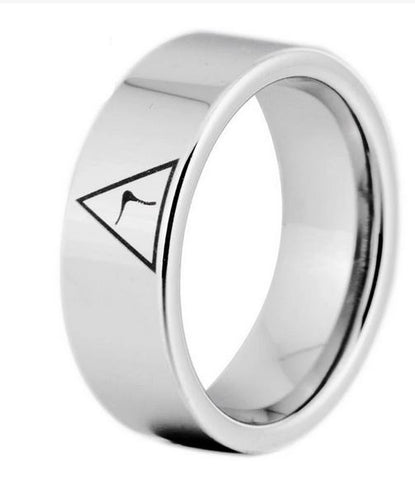 14th Degree MASONIC Silver Color Pipe Cut Tungsten Carbide Ring