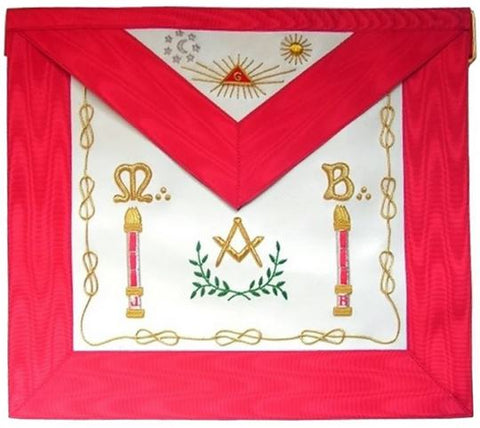 Masonic Scottish Rite Apron - AASR - Master Mason - Columns + Moon and Sun