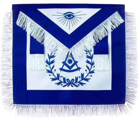 Masonic Past Master Blue With Wreath and Fringe Apron