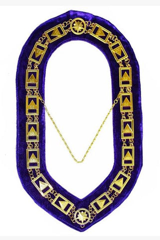 33rd Degree - Scottish Rite Chain Collar - Gold/Silver on Purple + Free Case