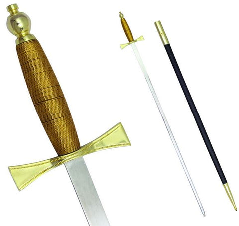 "Masonic Sword with Brown Gold Hilt and Black Scabbard 35 3/4"" + Free Case"