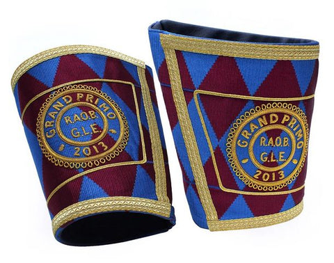 Masonic Royal Arch Regalia Personalised Handmade Embroidery Cuffs/Gauntlets